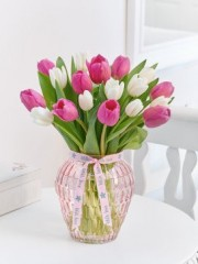 Mother's Day Pink and White Tulip Vase