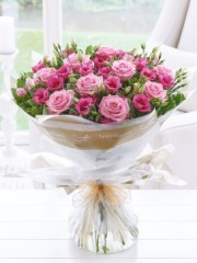 Mother's Day Pink Lisianthus and Rose Hand-tied