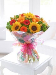 Seasonal Splendour Sunflower and Lily Hand-tied