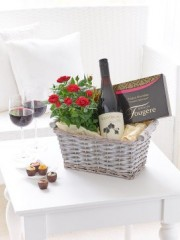 Luxury Chocolates and Red Wine Gift Basket