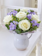 Baby Fragrant White Rose and Freesia Jug