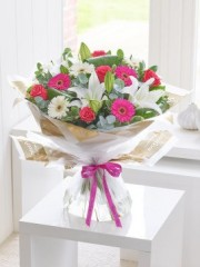 Happy Birthday Rose, Lily and Germini Hand-Tied