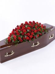 Rose and Carnation Casket Spray - Red