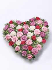 Mixed Rose Heart - Red & Pink