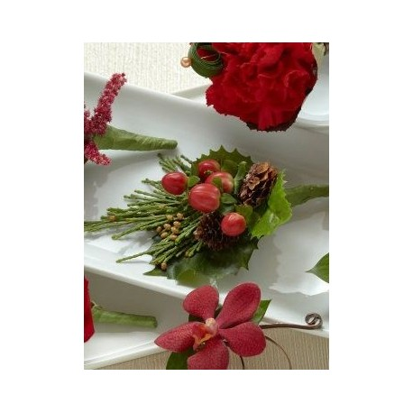 Red Berry Boutonniere